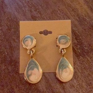 Jewelry - Vintage Blue and Cream Colored Enamel Dangles